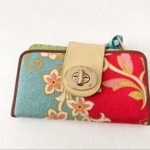 Spartina 449 floral linen and leather wallet